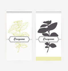 Hand drawn oregano in outline and silhouette style vector