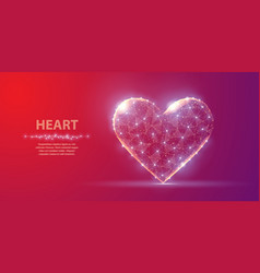 heart abstract polygonal wireframe heart on red vector image
