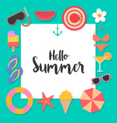 hello summer background with elements for vector image