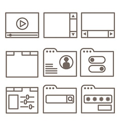 Icons of interface screens or software windows vector