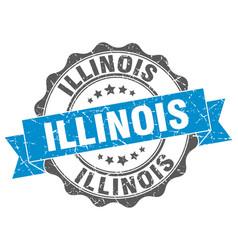 Illinois round ribbon seal vector