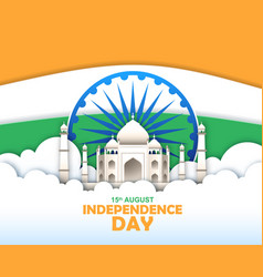 Independence day india taj mahal in sky vector
