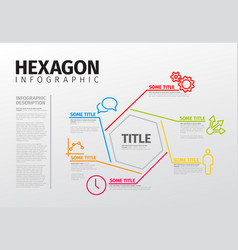 Infographic thin line hexagon template vector