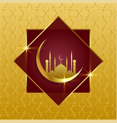 Islamic background with golden moon and mosque vector