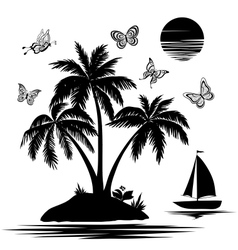Island with palm ship butterflies silhouettes vector