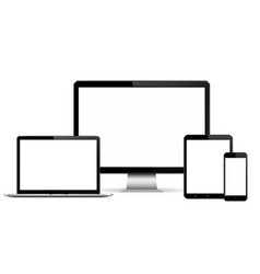 isolated digital devices with empty space on white vector image