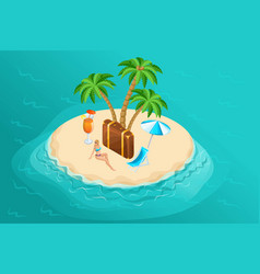 Isometric paradise island in middle of ocean vector