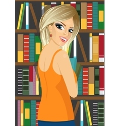 Librarian woman in library holding books vector