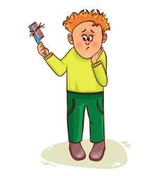 Little cartoon man with hair fall vector image