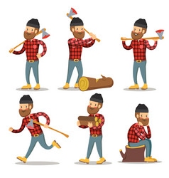 Lumberjack cartoon character set woodcutter vector