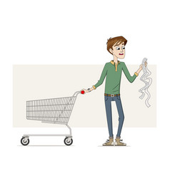 Man with a long shopping list vector