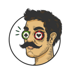 man with eye casino chips color sketch vector image