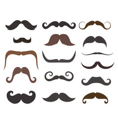 men mustache styles icons vector image