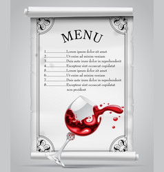 menu template on white parchment sheet with vector image