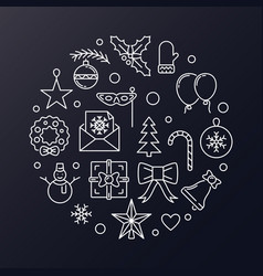 merry christmas round modern outline vector image