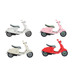 modern colorful motorcycles or scooters with flat vector image