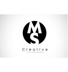 ms letter logo design inside a black circle vector image