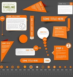 Orange infographic timeline elements on dark vector image