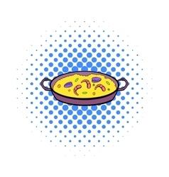 Paella icon in comics style vector