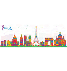 Paris france city skyline with color buildings vector