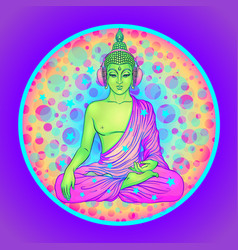 Peace and love colorful buddha in rainbow glasses vector