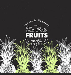 Pineapple fruit design template hand drawn vector