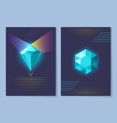 Poster with diamond of blue vector
