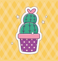 Potted cactus patch fashion badge sticker vector