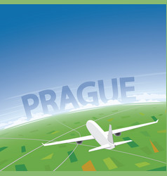 Prague flight destination vector