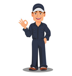 Professional auto mechanic in uniform vector