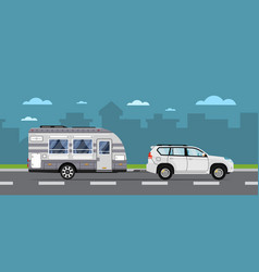 Road travel poster with suv car and trailer vector