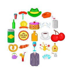romantic dinner icons set cartoon style vector image