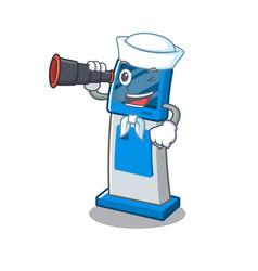Sailor with binocular information digital kiosk vector