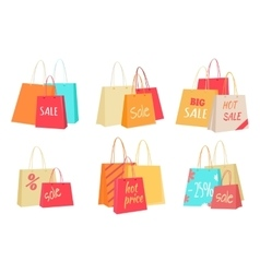 Sale Concepts with Paper Bags Set vector image