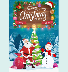 santa and snowman with christmas gifts xmas party vector image