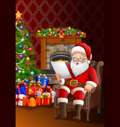 santa reading a list of gifts in the living room vector image
