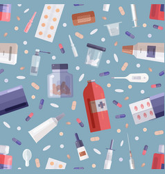 seamless pattern with pharmaceutical drugs or vector image