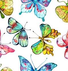 Seamless watercolor background with butterfly vector image