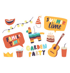 set icons family garden party theme summer vector image