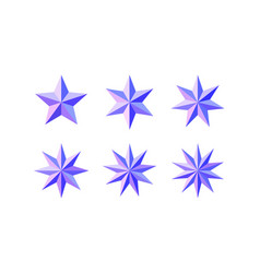 Set of beautiful faceted shiny pink blue stars vector