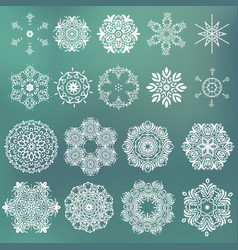 set of beautiful ornamental snowflakes vector image