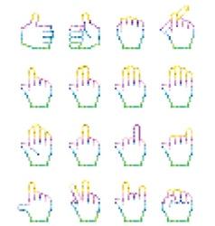 Set of unusual pixelated hand icons vector image
