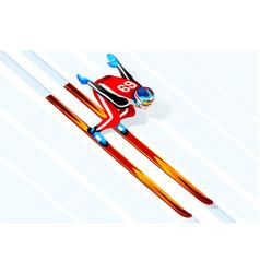 Skier jumping winter sports vector