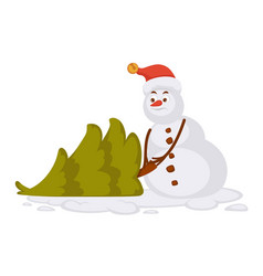 snowman in red christmas hat carries small spruce vector image
