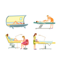 spa salon epilation and tanning procedure vector image