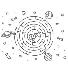 space maze puzzle or labyrinth game for kids vector image