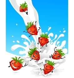 Strawberry having fun in milk vector