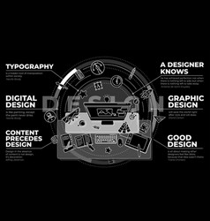 Stylish promo about design and work vector