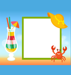 summer frame striped cocktail straw and umbrella vector image