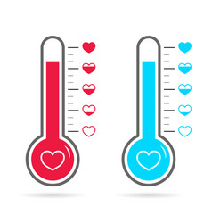 Thermometer love in heart meter or thermostat vector